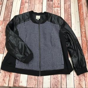 Sejour Tweed and Faux Leather Jacket